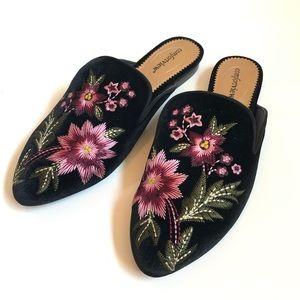 Floral Embroidered Black Velvet Mule, Size 10.5